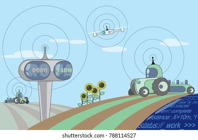 Sowing, robotic solutions for modern Farming, conception of the future of Agriculture, smart agrimachines and drone in the field. Vector illustration