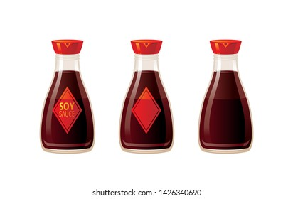 Soy asian sauce. 3 soya sauces set. Food icons with text logo packaging, empty label, blank mock up. Glass japanese soy bottle for sushi, 3d realistic vector illustration isolated on white background