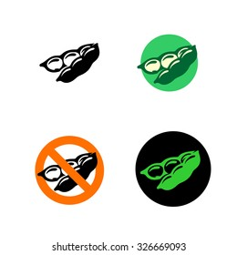 Soy bean icon with variations. Black, green and red colors.