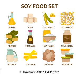 Soy food flat icons set. Vector illustration.