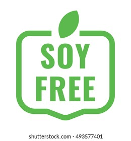 Soy free badge logo, icon. Flat vector illustration on white background. Can be used business company for eco, organic, bio theme.
