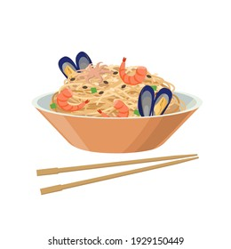 Soy noodles with seafood, mussels ans shrimps. Soybean product - vector illustration isolated on white background.