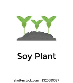 Soy plant flat vector icon