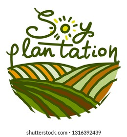 Soy plantation icon. Hand drawn illustration of soy plantation vector icon for web design