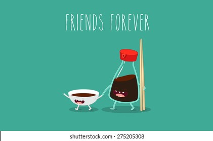 Soy sauce and sticks for sushi. Vector cartoon. Friends forever. Comic characters.
