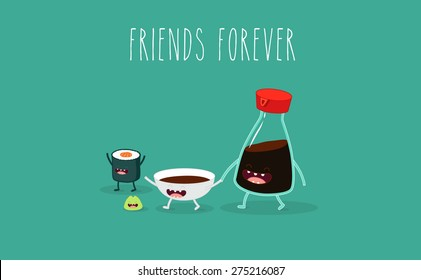 Soy sauce and sushi roll. Vector cartoon. Friends forever. Comic characters.