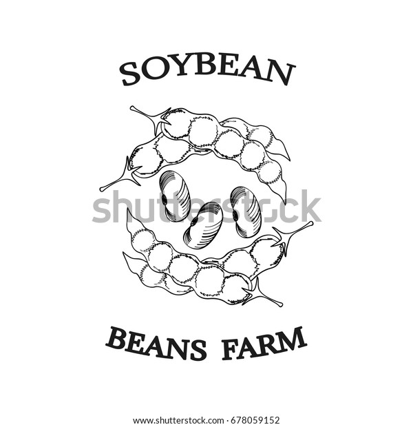 Soybean Ink Hand Draw Poster Label Stock Vector (Royalty