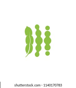 Soybeans vector icon Isolated abstract green color beans logo. Nature element logotype. Agricultural organic product sign. Harvesting vector illustration
