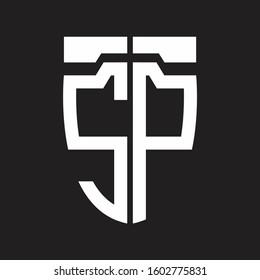 SP Abstrack logo monogram with emblem style isolated on black background
