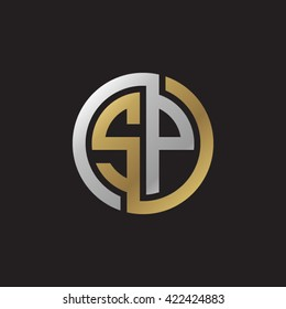 SP initial letters looping linked circle elegant logo golden silver black background