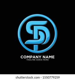 SP initial logo with 3D concept for business company