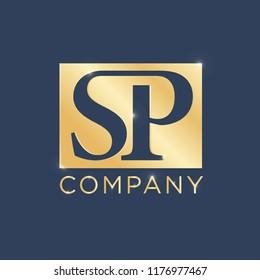 SP Logo Design Template. Luxury Gold Plat Vector
