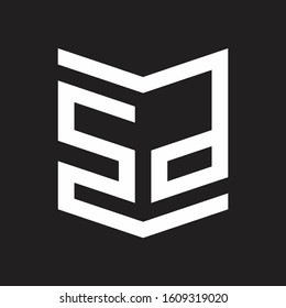 SP Logo Emblem Monogram With Shield Style Design Template Isolated On Black Background