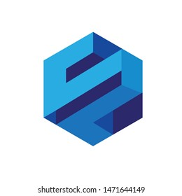 SP logo letter based faux 3D isometric logo icon