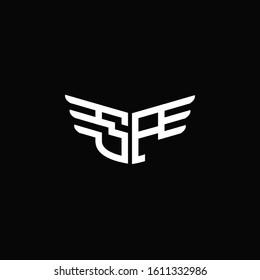 SP logo monogram emblem shape with wings style ribbon design template
