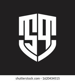 SP Logo monogram with emblem shield shape design isolated on black background