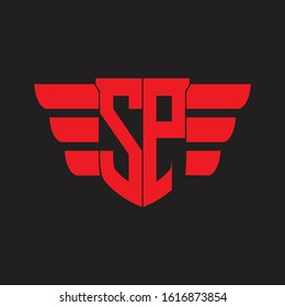 SP Logo monogram with emblem and wings element design template on red colors