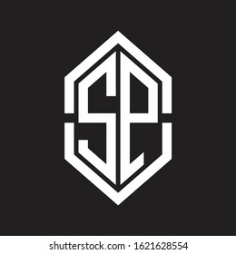 SP Logo monogram with hexagon shape and outline slice style with black and white