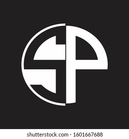 SP Logo monogram with Negative space style design tempate