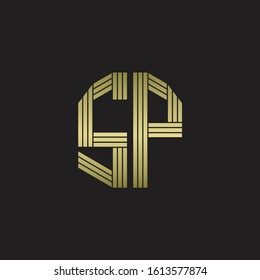 SP Logo monogram outline style linked isolated with gold colors