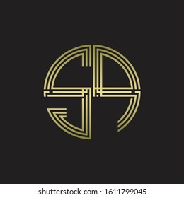 SP Logo monogram triple ribbon style line design template isolated with gold color