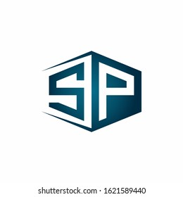SP monogram logo with hexagon shape and negative space style ribbon design template