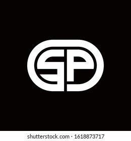 SP monogram logo with an oval style on a black background