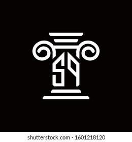 SP monogram logo with pillar style design template