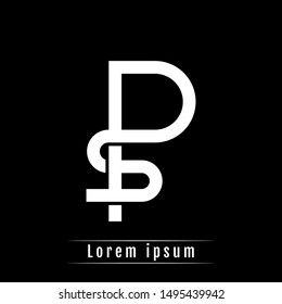 SP PS P S initial logo template isolated on black background. icon, monogram, company group, white and black colors. vector illustration