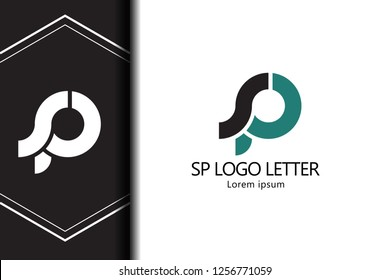 sp s p circle lowercase design of alphabet letter combination with infinity suitable as a logo for a company or business - Vector