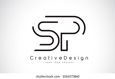 SP S P Letter Logo Design in Black Colors. Creative Modern Letters Vector Icon Logo Illustration.