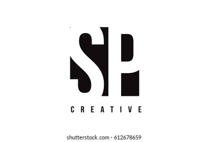 SP S P White Letter Logo Design with Black Square Vector Illustration Template.