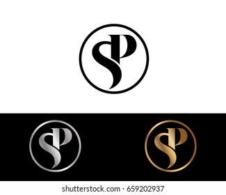 Sp text gold black silver modern creative alphabet letter logo design vector icon