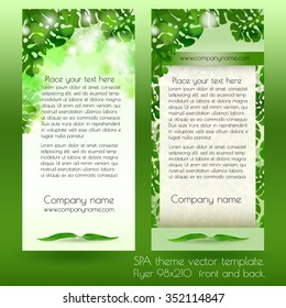 Spa advertisement card design template with green exotic leaves on light background.