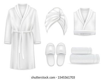 Spa apparel clothing mock up set, vector illustration isolated on white background. Realistic hand drawn terry fluffy towel, slippers, luxurious bathrobe for spa baths.