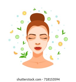 SPA avatar of young woman in cosmetic mask, cream, skin treatment. Circle element for design with abstract pattern elements of SPA care. Girl with closed eyes gets salon procedure.