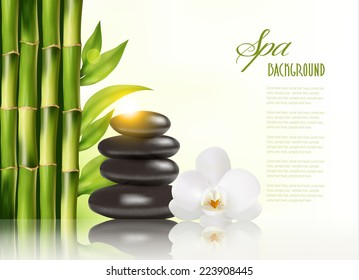 Spa background with bamboo and stones.Vector