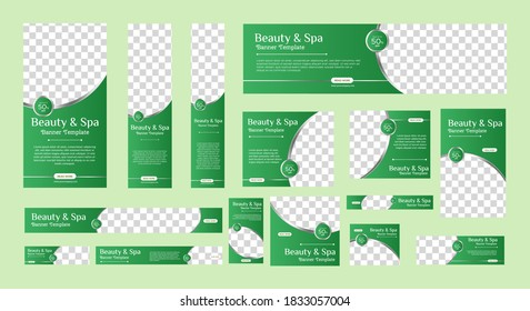 Spa banner collection with place for photo. Web banner layout. Vertical, horizontal and square template. Vector Illustration