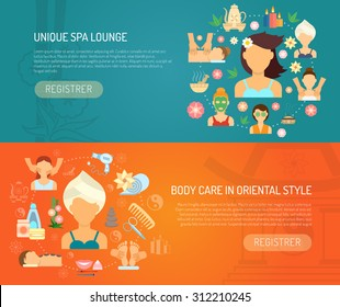 Spa banner horizontal set with oriental style body care elements flat isolated vector illustration
