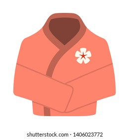 Spa Bathrobe Icon. Flat Color Design. Vector Illustration.