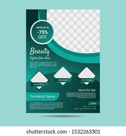 Spa beauty care flyer. Spa wellness Business template. Vector brochure poster withe seashells. Vector illustration design.