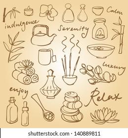 Spa & beauty doodle icons set