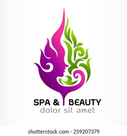 Spa & Beauty and nature symbols and concept,. Abstract design concept for beauty salon, massage, cosmetic and spa. Vector logo design template.