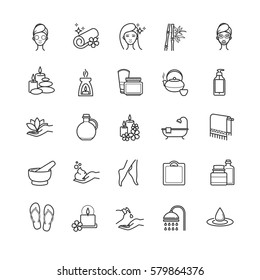 spa and beauty outline icons for your design