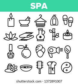 Spa Beauty Service Linear Vector Icons Set. Spa Treatments Thin Line Contour Symbols. Asian Therapy, Alternative Medicine, Relaxation, Massage, Aromatherapy. Beauty Salon Items Outline Illustrations