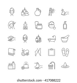 Spa and Beauty thin line vector icons set for web, polygraphy, etc.
