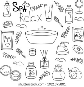 spa care doodle style. vector image