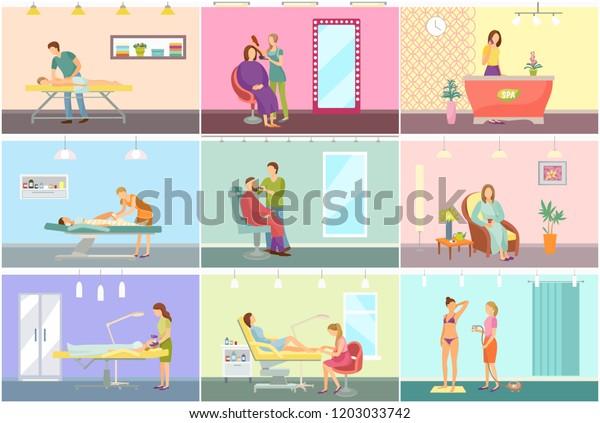 Spa Center Beauty Salon Interior Cartoon Stock Vector Royalty Free 1203033742