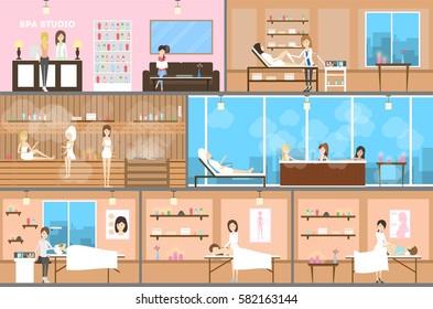 Spa center inetrior set. Reception, wellness room and sauna.
