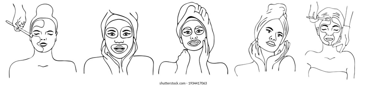 Spa center service flat vector illustrations set. Portraits of visitors of beauty salons. Outline icons.Facial masks.